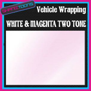 2M X 1524mm VEHICLE CAR VAN WRAP STYLING GRAPHICS WHITE & MAGENTA TWO TONE